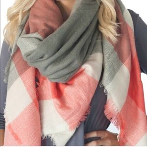 Evolving Always Accessories - 🆕Blanket Scarf Coral, Gray and White Color Scheme